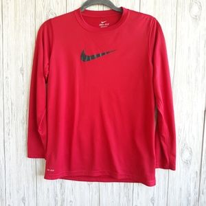 Nike Dri-fit Red Long Sleeve Shirt Size Large